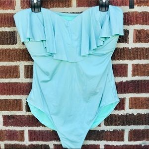 Sky Blue Ruffled One Piece Swim Suit